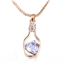 Light Sapphire Golden Tone Swarovski Crystal Elements Heart Bottle Necklace [6N0798] - $15.99 : Alilang, Fashion Costume Jewelry & Accessories Store