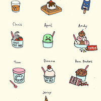 Parks and Rec Ice Cream Print  HandIllustrated by roaringsoftly