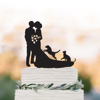 Wedding Cake topper with dog, bride and groom silhouette wedding cake topper with cat, funny wedding cake topper with dog and cat