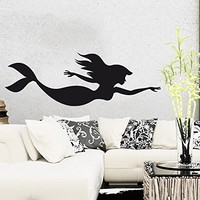 Wall Decal Vinyl Sticker Decals Mermaid Nymph Nature Fish Hair Beauty Sea Animal Wall Stickers Home Decor Nautical Bathroom Art Bedroom Design Interior Wall Decor Mural