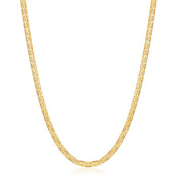 Barzel 18K Gold Plated Flat Mariner/Marina 3MM, 3.5MM, 4.5MM, 5MM, 6MM, 8MM Chain Necklace 3.5MM Gold 20.0 Inches