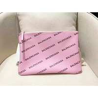 Balenciaga pink letter zipper large capacity clutch bag storage bag shopping bag