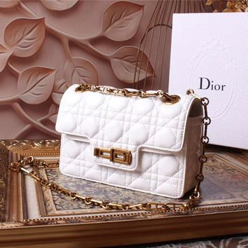 DIOR WOMEN'S 2018 HOT STYLE LEATHER INCLINED CHAIN SHOULDER BAG