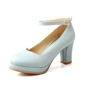 Buckle Strap Platform Pumps High Heels for Women 9656