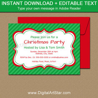 Christmas Party Invitation, Holiday Party Invitation, Christmas Invite Template, Christmas Invitation Printable, Green Holiday Invites C3