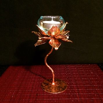 Lotus Candle Holder / Gold Thai Metal Art / Votive