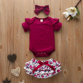 High Quality Baby Girls Clothes Short Sleeve Set Red wine Bodysuit+Floral PP Pant+Headband Summer Infant Baby Clothing Suit D30