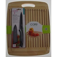 Set 2 Core Kitchen Bamboo Cutting Board 14x11 NonStick Utility Knife SS Serrated