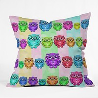 Lisa Argyropoulos Little Hoots Stripes Multicolor Outdoor Throw Pillow