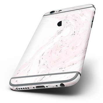 The Mixtured Pink and Gray 19 Textured Marble Six-Piece Skin Kit for the iPhone 6/6s or 6/6s Plus
