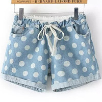 Light Blue Polka Dot Drawstring Folded Hem Denim Shorts