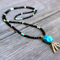 Beaded Necklace / Wrap Bracelet with Turquoise Jasper Nuggets Black and Gold Beads and Gold Bead Tassel Boho Necklace NY Fashion Week Gifted