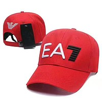 Armani Fashion New Embroidery Letter Women Men Sunscreen Cap Hat Red