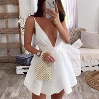 2020 new women's solid color sleeveless suspender dress