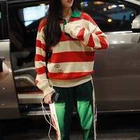 """Gucci"" Women All-match Stripe Contrast Color Lapel Logo Embroidery Long Sleeve Sweater Tops"