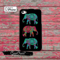 Elephant Blue Red Tribal Indian Boho Chic Cute Tumblr iPhone 4 Case and iPhone 5/5s/5c Case and iPhone 6, 6 Plus, 6s, 6s Plus + Wallet Case