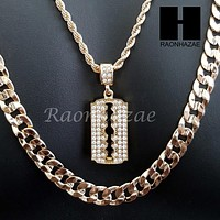 "MEN GOLD BARBER RAZOR BLADE CHARM CUT 30"" CUBAN LINK CHAIN NECKLACE S87"