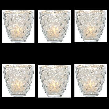 6 Pack   Vintage Mercury Glass Candle Holder (3.25-Inch, Small Deborah Design, Silver) - For Use with Tea Lights - For Home Decor, Parties, and Wedding Decorations