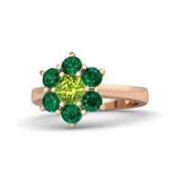 Round Peridot 18K Rose Gold Ring with Emerald