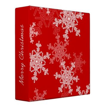 Girly red and white Christmas snowflakes 3 Ring Binder