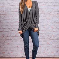 One Way Ticket Top, Charcoal