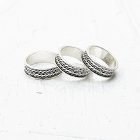 Etched Ring 3 Pack in Silver - Urban Outfitters