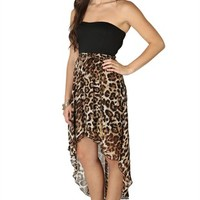 Strapless Dress with Open Back, Cheetah High Low Skirt and Chain Belt