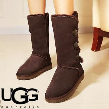 UGG Classic Popular Boots Wool Fur Boots Three Buckle High Boots Shoes