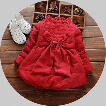 Baby Girl Clothes Fashion Cotton Women's Winter Down Jacket Turtleneck Solid Child Winter Coat Jumpsuit Broadcloth Dress Coat