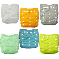 Alva Baby 6pcs Pack Pocket Washable Adjustable Cloth Diaper with 2 Inserts Each (Neutral Color) 6BM98