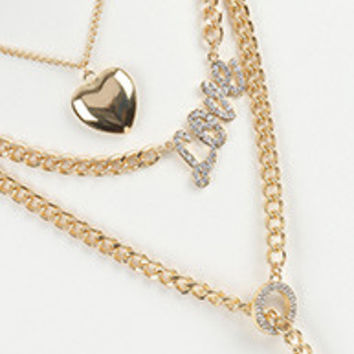 2 PC Curb Chain Heart Necklace