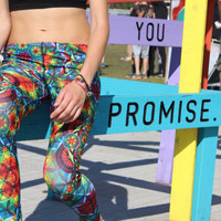 Rage Leggings in Rainbow Flower of Life Print-  From Roots Rock Rage - For Phish, STS9, Dead, Further, Cheese, Sublimated, Trippy, Sacred