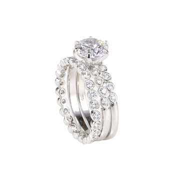2CT Bridal Ring Wedding Set 3 Rings Round CZ .925 Sterling Silver