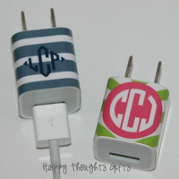 Custom Monogrammed iPhone Charger Wrap  by happythoughtsgifts