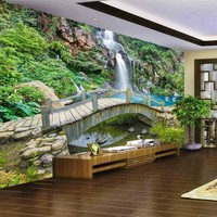 Custom Any Size 3D Mural Wallpaper Small Bridge Running Water Waterfall Nature Landscape Photo Background Wall Papers Home Decor