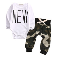 2Pcs/Set Autumn Baby Boys Clothes Camouflage Infant Baby Boys Tops Rompers Pants Leggings Outfits Set Clothes