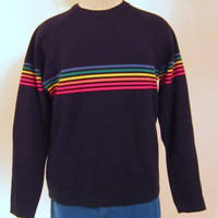 Vintage Amazing 70s RAINBOW STRIPED SKI Winter Warm Hip Rad Unisex Medium Navy Blue Acrylic Sweater
