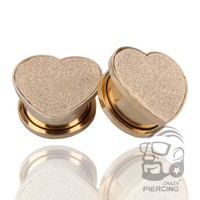 High quality 316L Stainless Steel Gold Heart Flesh Ear Tunnel Plug Ear Stretcher Expander Body Piercing Jewelry