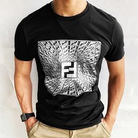 FENDI Cotton Trend Rhinestone Hot Rhinestone Short Sleeve Fashion Simple Re-engraved Double F Hot Stamping T-shirt Men's and Women's Top White