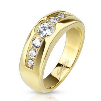 Center CZ with Paved CZ on Sides Gold IP Band Ring Stainless Steel