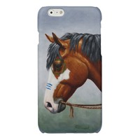 Native American Bay Pinto War Horse Glossy iPhone 6 Case