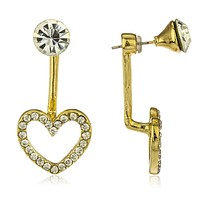 Goldtone with Clear Heart and Stud Ear Jacket Earrings