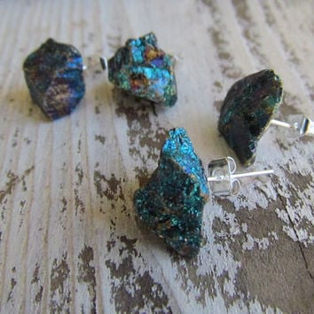 BLUE MOON / Raw Chalcopyrite Rainbow Peacock Ore Gem Stone Crystal Earrings Sterling Silver Studs, Sparkly, Astral, Summer