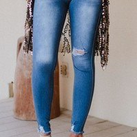 Pull On Distressed Skinny Jeans - Blue