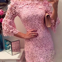 Pink Off-shoulder Lace Half Sleeve Mini Bodycon Dress