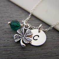 Four Leaf Clover Shamrock Lucky Swarovski Birthstone Initial Personalized Sterling Silver Necklace / Gift for Her