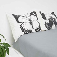 Butterflies Pillow Set in Black and White - Urban Outfitters