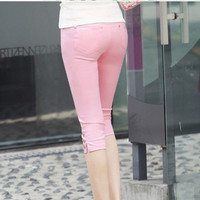 new women summer casual candy color skinny slim pencil pants trousers capris plus size