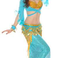 8-Piece Deluxe Dreamy Genie Belly Dancer Costume - TURQUOISE
