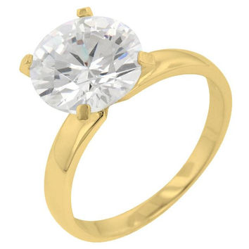 Timeless Gold Solitaire Engagement Ring, size : 06
